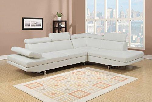 Mobilier Deco Canapé d'angle Design Blanc 6 Places (Angle Droit)