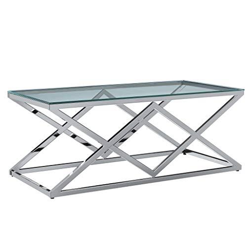 vidaXL Table Basse Table d'Appoint Table de Salon Bout de Canapé Table de Canapé Maison Intérieur Salle de Séjour 120x60x45 cm Verre Trempé et Acier Inoxydable