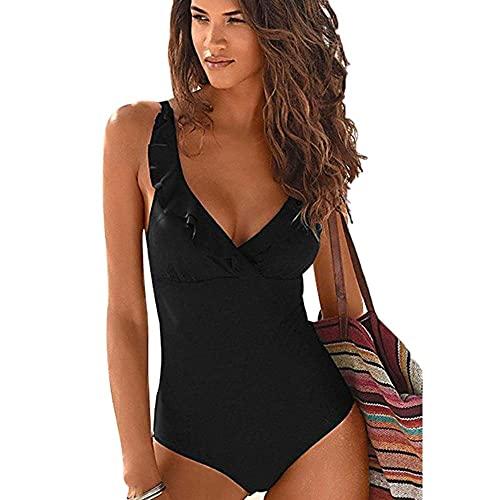 JFAN Femme Maillot De Bain 1 Pièce Col V Sexy Elégant Tankini Amincissante Slim Grande Taille Impression De Feuilles Siamois Bikini Noir L prix et achat
