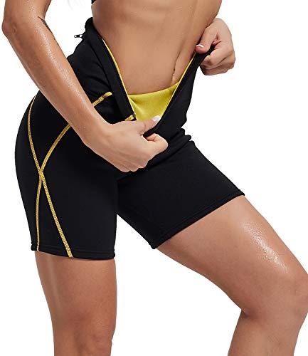 IFLOVE Short De Sudation pour Femmes Minceur Legging Court Sauna Taille Haute Pantalons avec Poches Amincissant pour Yoga Fitness