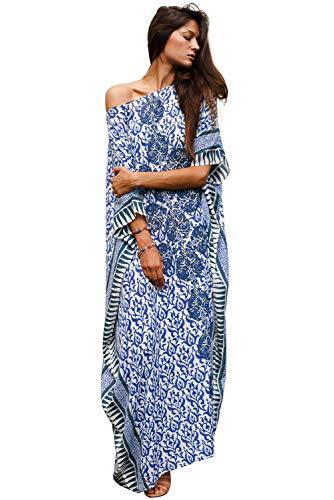 Tunique Longue Femme été Grande Taille Boheme Chic Robe Imprime Africain Caftan Indien Kaftan...