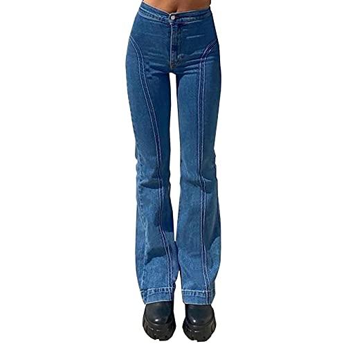 WDBK Denim Pantalon évasé Y2K Mode Femme Street Street Retro Girl Girl Girl La Ligne de Division était Mince Pantalon évasé Jeans évasés, Bleu, 3 Tailles prix et achat
