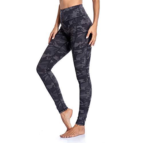 Occffy Legging de Sport Femme Pantalon de Yoga avec Poches Yoga Fitness Gym Jogging Taille Haute Leggings pour Femmes P107 (Gris Camouflage, M)