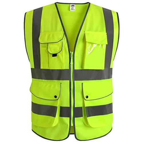 JKSafety 9 poches de classe 2'gilet de sécurité haute visibilité devant avec des bandes...