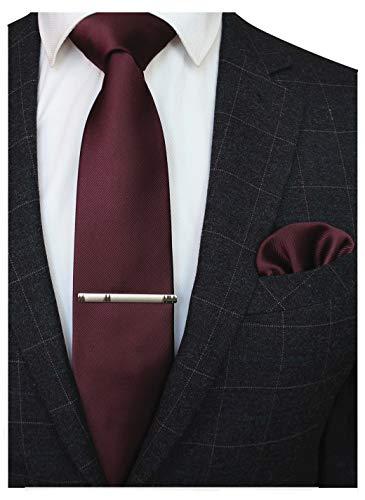 JEMYGINS Cravate bordeaux Homme en Soie et Pinces à cravate Carre de poche Set(3)