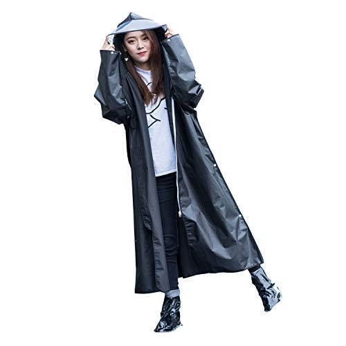 Imperméable multifonctionnel en EVA, Poncho de pluie réutilisable avec capuche et manches longues, Imperméables légers et portables, parfaits pour les activités de plein air (XXL, Black)