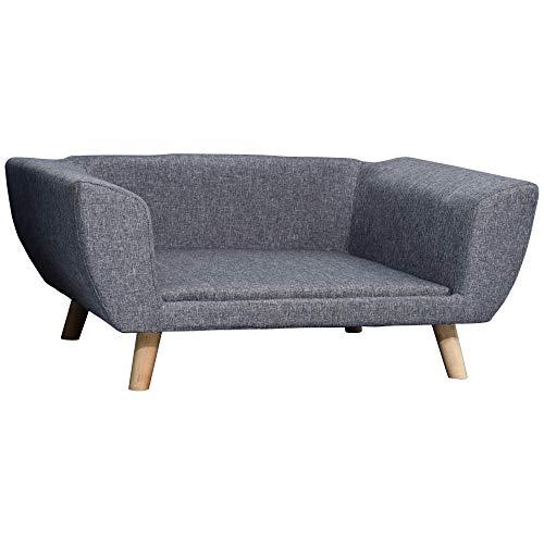 Pawhut Canapé Chien lit pour Chien Design scandinave Coussin Moelleux Pieds Bois Massif dim. 87 x 61 x 36 cm Polyester Gris