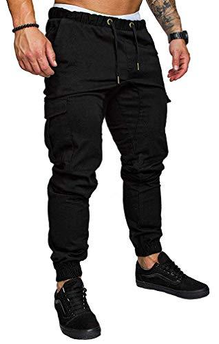 Socluer Homme Pantalons Casual Jeans Sport Jogging Slim Fit Militaire Cargo Montagne Baggy Pants Multi Poches Grande Taille M-4XL, Noir, L