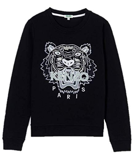Kenzo Sweat Tiger 4X12SW705K09P18599 Pull Noir Tigre Blanc Femme (M)