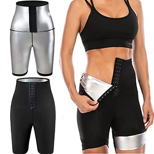 Pantalon de Sudation Femmes Legging de Sport Taille Haute Noir Shorts pour Accélérer Transpiration Legging Anti Cellulite Pantalon de Perte de Poids Ventre Plat pour Minceur Fitness Jogging Yoga