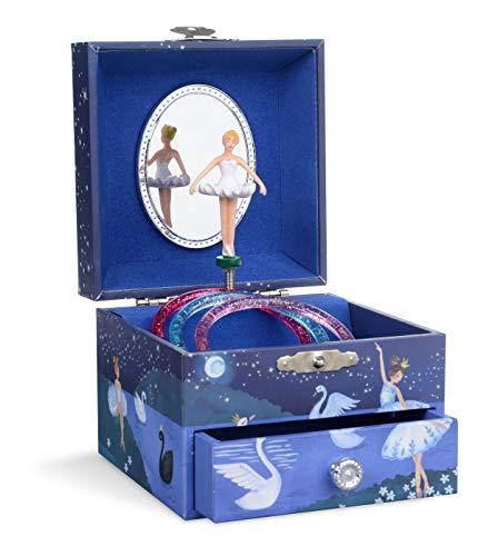 Jewelkeeper - Boîte à Bijoux Musicale, Ballerine à Paillettes Bleu Marine, avec Tiroir de Rangement - Mélodie Le Lac des Cygnes