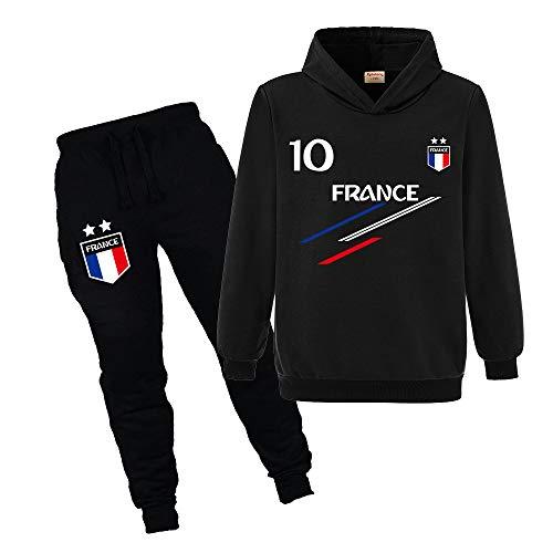Jogging Survêtement De Football France 2 étoiles Enfant Sweat à Capuche avec Poche...