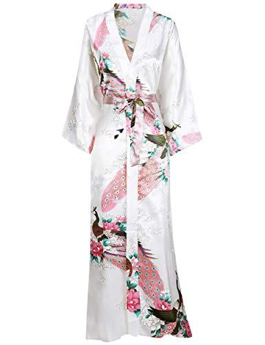 BABEYOND Robe Longue Satin Femme Robe de Chambre Paon Femme Longue Kimono Femme Nuit Chemise de...