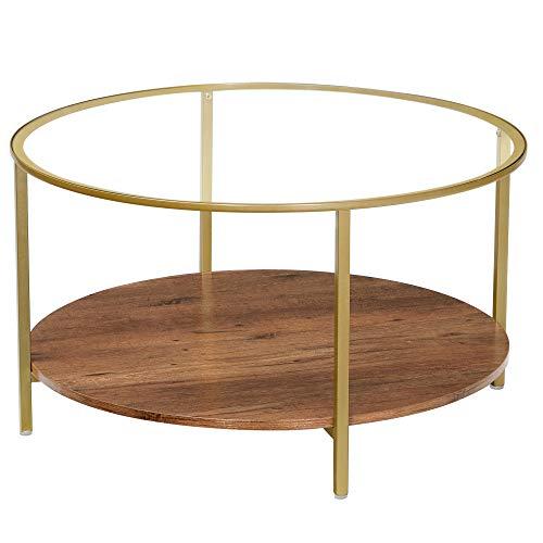 VASAGLE Table Basse, Table de Salon, Table Ronde en Verre trempé, à 2 Niveaux, pour Salon, Marron Noisette et Doré LCT100A03