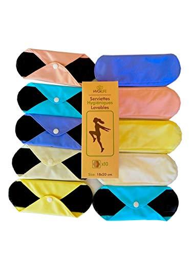 Serviettes Hygiéniques Lavables | lot de 10 Protège slips Menstruels Réutilisables pour flux moyen et petit