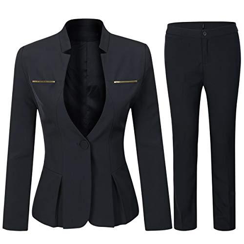 YYNUDA Tailleur Femme 2 pièces Slim Fit One Button Blazer Veste Bureau Travail Pantalon...