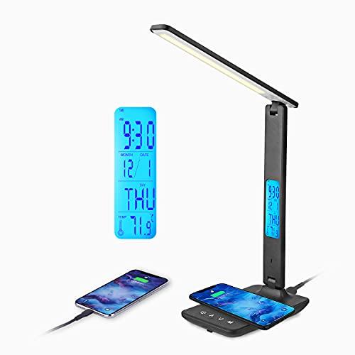 Lampe de Bureau LED avec Chargeur Sans Fil et USB,Lampe de Bureau Réglable Flexible Contrôle Tactile,Affichage LCD Avec Fonctions heure, alarme et température(A-Noir)