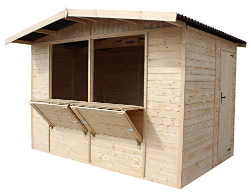 TIMBELA Kiosque en Bois Naturel- Étal de marché en pin/épicéa- H232x336x263 cm/6 m2- Construction en Panneaux M150