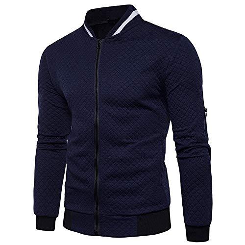 Veravant Sweat-Shirt Homme Manches Longues Pull Uni Zippé Bomber Blouson Veste Sport - Bleu...