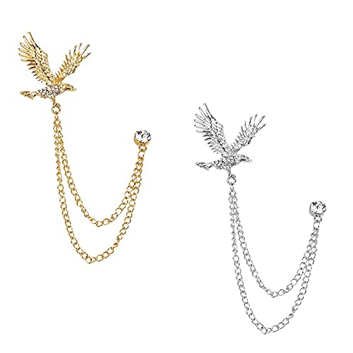 Yuemuop 2 Pièces Aigle Broche Homme Clips en Métal, Pin's Clip Cristal Vintage, Insigne D'épingle de Broche pour les Chemises les Costumes les Cadeaux Etc (Or, Argent)