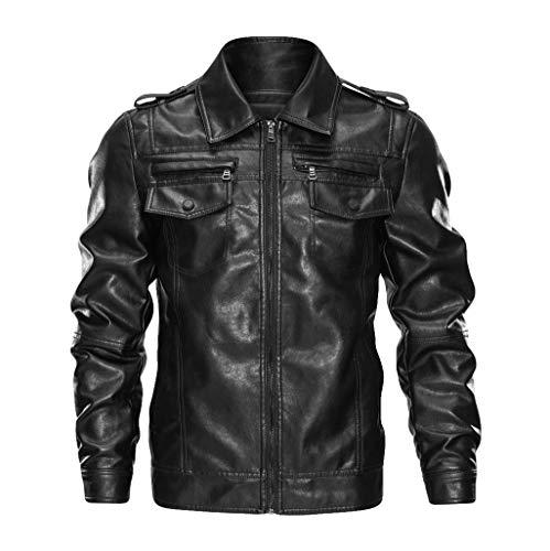 Veste Cuir Homme Moto Pas Cher Grande Taille Hiver Multipoches Manche Longues Manteau en Cuir Mode Blouson Cuir Moto
