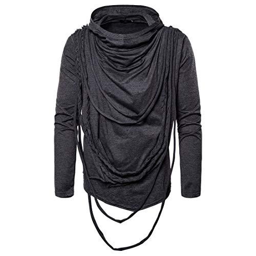 LSSM Tendance Automne Et Hiver Pull à Capuche à Manches Longues Hip-Hop T-Shirt à Manches Longues Fermeture éClair Sportif Veste Cargo Chaude Vestes Militaires à Fermeture éClair Manteau Gris XL