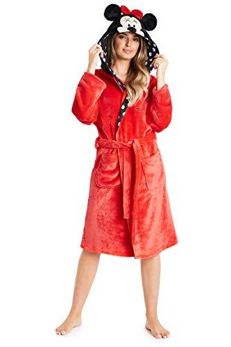 Disney Robe De Chambre en Polaire Femme Minnie Mouse, Peignoir À Capuche En Pilou Pilou, Cadeaux Ados Fille Ou Adulte Taille S, M, L et XL (Rouge, S)
