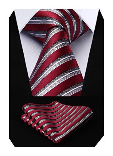 HISDERN Mariage raye Cravate Mouchoir La cravate des hommes & Carre de poche Set Rouge/gris