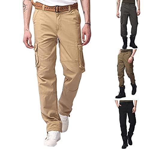 BIBOKAOKE Pantalon cargo pour homme - En coton - Coupe droite - Avec 6 poches - Couleur unie - Pour l'été - Pour les loisirs et la randonnée - Beige - Medium