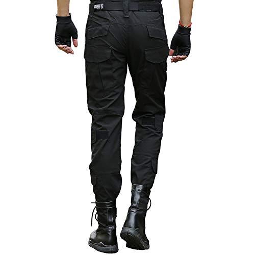 LHHMZ Pantalons Cargo Tactiques Militaires de Combat pour Hommes Pantalon Noir de Plein air...