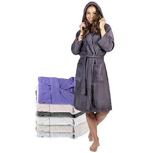 Twinzen Peignoir de Bain Femme - XS - Gris Foncé - 100% Coton avec Capuche - Certifié OEKO-TEX® - Robe de Chambre Eponge 2 Poches, Ceinture - Doux, Absorbant et Confort prix et achat
