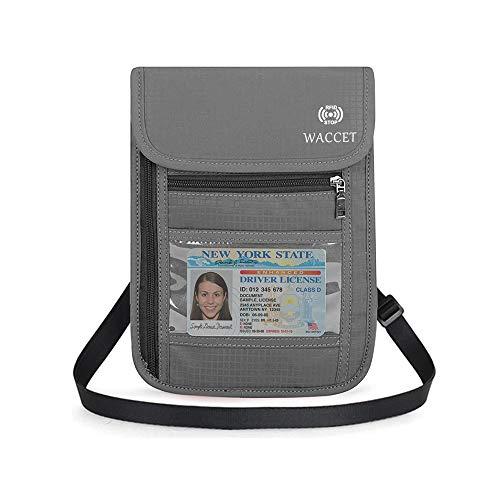 WACCET Pochette Tour de Cou Voyage Sécurisée RFID Blocage Sac de Passeport pour Femme Homme,...