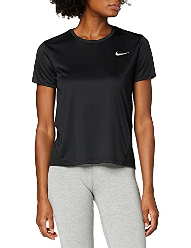 Nike W NK Miler Top SS T-Shirt Femme, Noir (Black/Reflective Silver 010), FR (Taille Fabricant : XS)