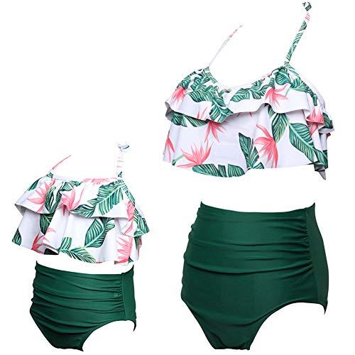 ChayChax Femmes Filles Maillot de Bain 2 Pièces Mère-Fille Mignon Volants Bikini Set...