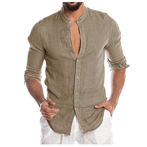 SANFASHION Chemisier Homme Lin, Chemise Coton Col Mao,Tops Shirt Casual Manches Longues Slom Fit,Chemise Boutons Grande Taille Tee Tops Gay Vetement Pas Cher