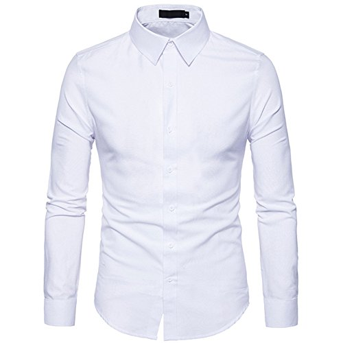 Tobaling Homme Chemise à Manches Longues Denim Business Casual Affaires Loisir Repassage Facile (Blanc, L) prix et achat