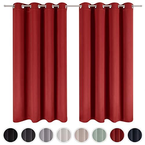 Blumtal - Lot de 2 Rideaux Occultants 140x145 cm - Rideau Occultant Rouge - Rideau Opaque avec Œillets - Double Rideaux Occultant - Rideau Fenetre