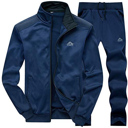 MANLUODANNI Ensemble Survêtement Homme Pantalon Sweat Jogging 2019 Set Bleu L