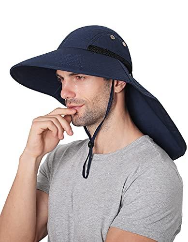 Wmcaps Chapeaux de Soleil Homme Femme Respirant, Large Bord pour protéger Le Visage du Cou, Convient pour la randonnée en Plein air, la Course, l'escalade(Bleu Marin) Taille Unique prix et achat
