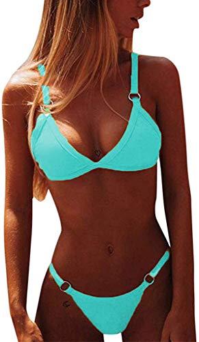 CheChury Maillot de Bain 2 Pieces Femme Sexy Taille Basse Bandage Bikini Bresilien Push Up...