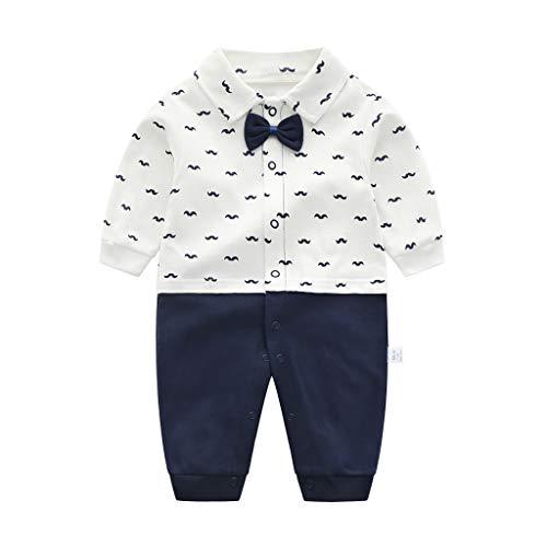 Grenouillères Bébé Gentleman Combinaison en Coton Pyjama avec Bowknot 0-3 Mois