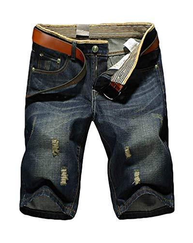 Minetom Shorts en Jeans Homme Casual Denim Pantalon Court Jeans Bermuda B Bleu W40/Tour de...