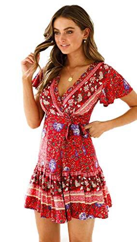 iMixCity Femme Col V Profond Imprimé Foral Manches Courtes Cache-cœur Robes d'été à Volants Mini Robe (L, A_Burgundy)