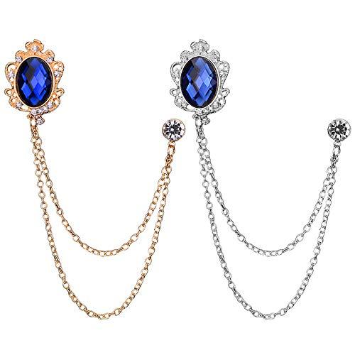 Huture Lot de 2 broches en métal pour homme - Pour chemisiers et écharpes - Accessoire clip - Cristal vintage - Mode bijoux insigne corset pour femme - Or et argent bleu diamant