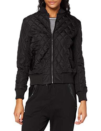 Urban Classics Ladies Diamond Quilt Nylon Jacket, Blouson Femme, Noir-Noir (7), XL