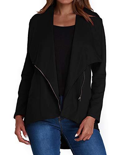 ACHIOOWA Femme Blazer Veste Courtes Casual Manteau Gilet Manches Longues Basic Élégant Blousons A01488Noir L