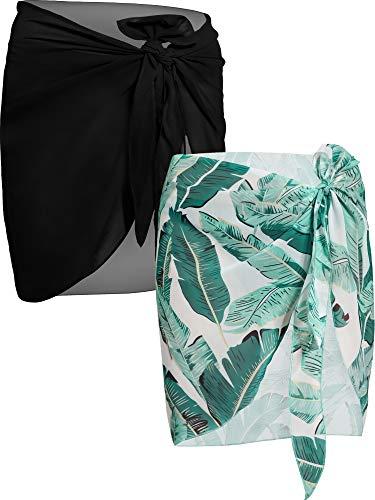 2 Pièces Wrap de Plage de Femmes Sarong Couverture de Bikini Jupes Wrap pour Maillot de Bain en Mousseline (Noir et Feuille de Plantain Verte, Court) prix et achat