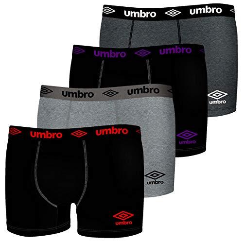 Umbro Boxer UMB/W/1BCX4 - Lot de 4 - Caleçon Boxeur - Homme - Multicolore/noir - XL