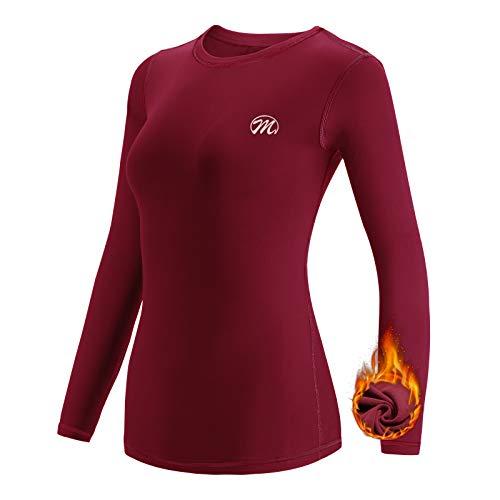 MEETWEE Tee Shirt Thermique Femme, Manche Longue Maillot de Compression Base Layer sous-Vêtements Thermique pour Sports Ski Running