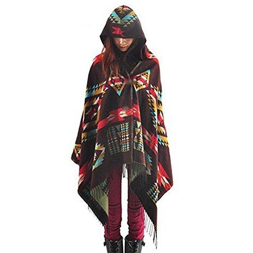 LATH.PIN Mélange de laine à capuche cape Blanket Manteau Cape Echarpe Epaisse Poncho de Femmes Foulard Couverture Chaud, Café, L(taille unique) prix et achat